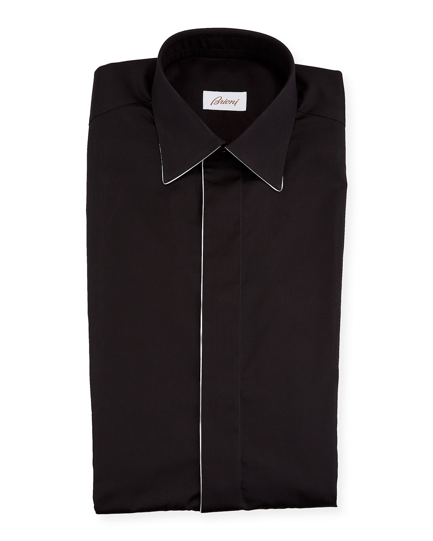 Brioni T-shirts MEN'S FORMAL SHIRT W/ CONTRAST PIPING
