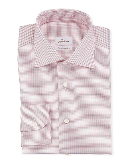 Brioni Men's Ventiquattro Graph Check Dress Shirt