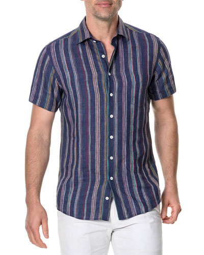 Men's Harvey's Striped Linen Sport Shirt