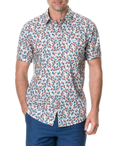 Men's Kuri Bush Patterned Poplin Short-Sleeve Shirt