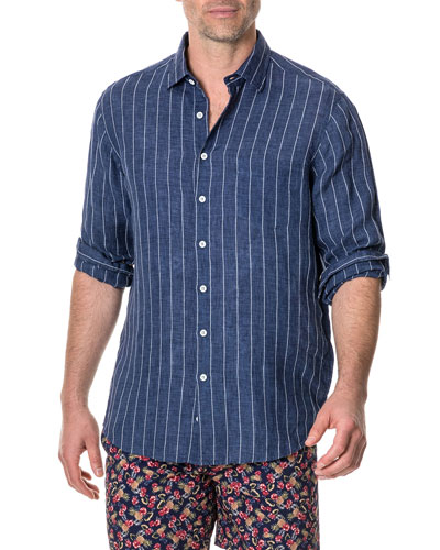 Men's Mangle Valley Faded Stripe Linen Sport Shirt