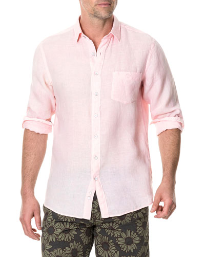 Men's Pinnacle Hill Faded Linen Sport Shirt