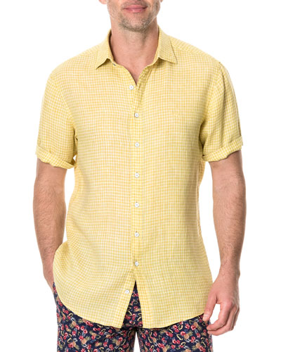 Men's Williamson Faded Grid-Pattern Sport Shirt