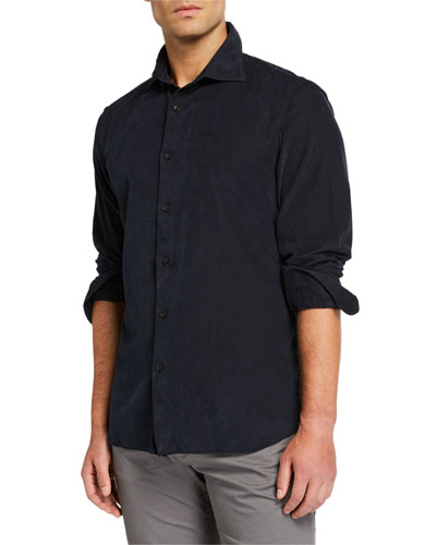 Men's Corduroy Sport Shirt, Dark Gray