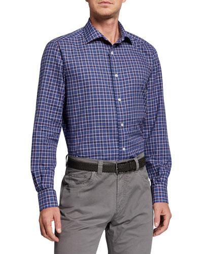 Men's Plaid Sport Shirt, Blue/Red/White