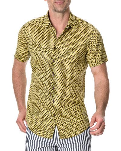 Men's Mclaren Falls Parrot Motif Linen Sport Shirt