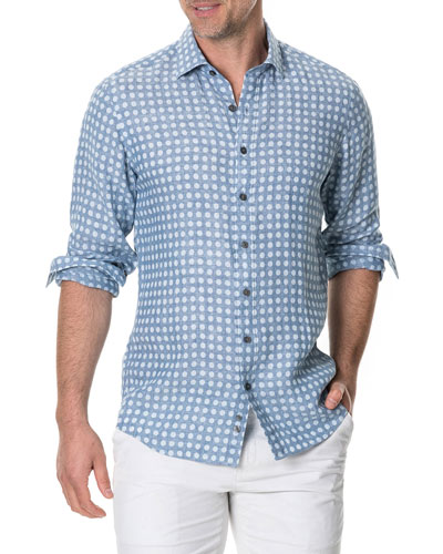 Men's Pickersgill Polka-Dot Linen Sport Shirt