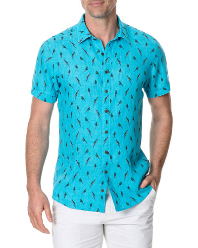 Men's Arrow River Faded Bird-Print Linen Sport Shirt