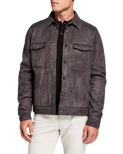 Men's Fur-Lined Suede Trucker Jacket