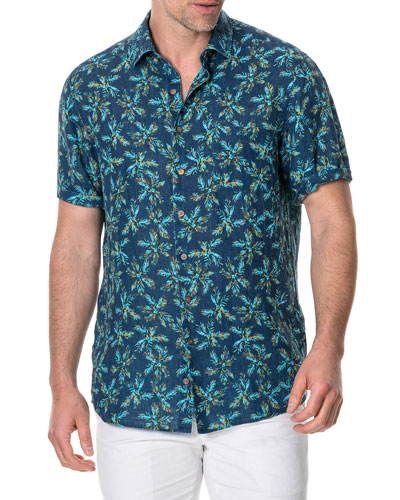 Men's Forbes Faded Palm Tree Linen Sport Shirt