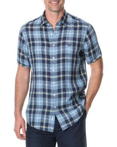 Men's Berwick Faded Check-Pattern Linen Sport Shirt