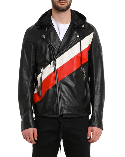 Men's Solove Striped Leather Jacket