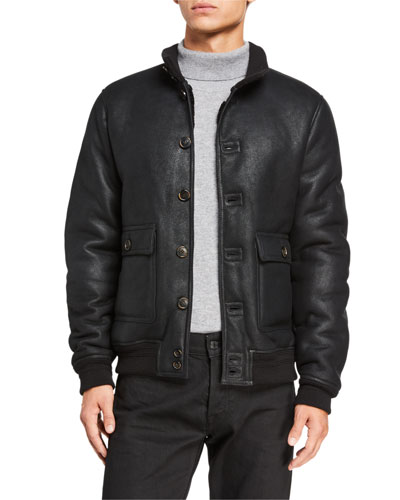 Men's Sheepskin Button-Front Jacket w/ Shearling Lining