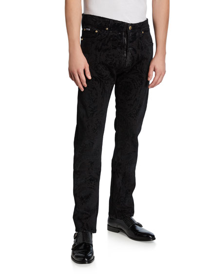 Versace Jeans Couture Men's Flocked Baroque Slim-Fit Jeans