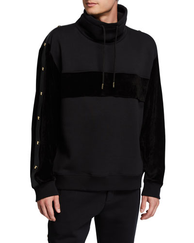 Men's Velour-Trim Mock-Neck Pullover Sweater
