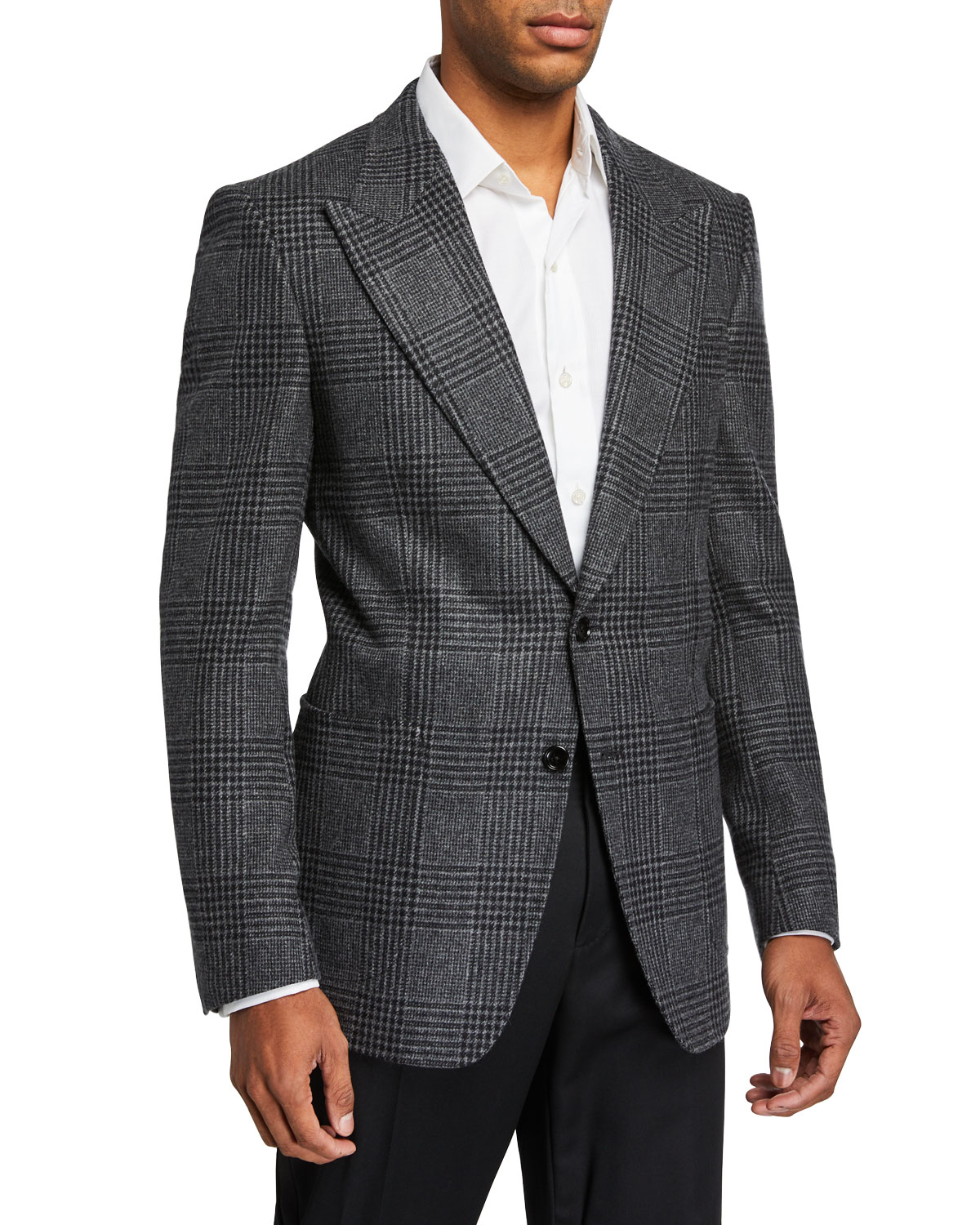 Tom Ford Jackets MEN'S PRINCE OF WALES PLAID SHELTON PEAK TWO-BUTTON JACKET