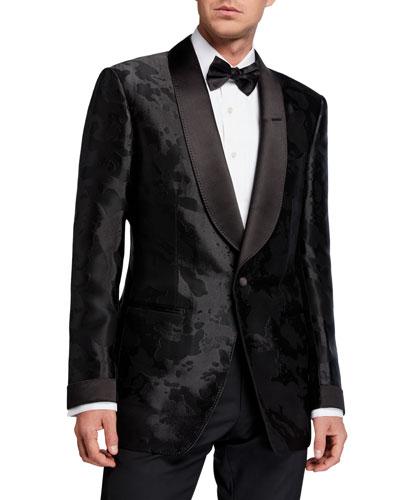 Men's Camo-Print Satin Dinner Jacket