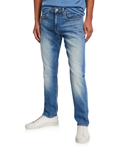 Men's Asher Fernwood Slim-Fit Faded Selvedge Stretch Denim Jeans