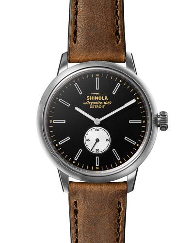 Men's 42mm Bedrock Sub-Second Leather Watch