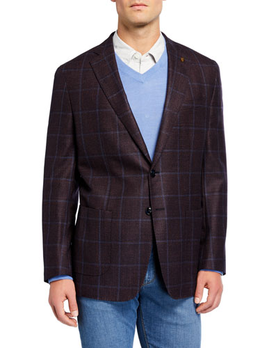 Men's Soft Wool-Blend Windowpane Check Sport Jacket