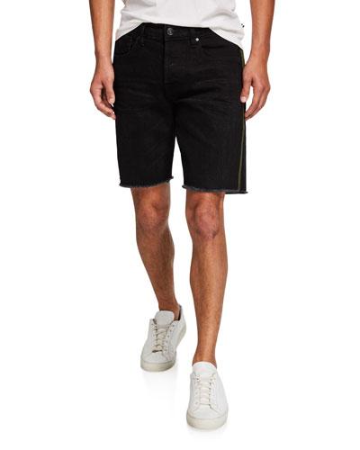 Men's Cutoff Denim Shorts w/ Side Stripe