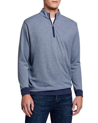 Men's Interlock Striped Quarter-Zip Sweater