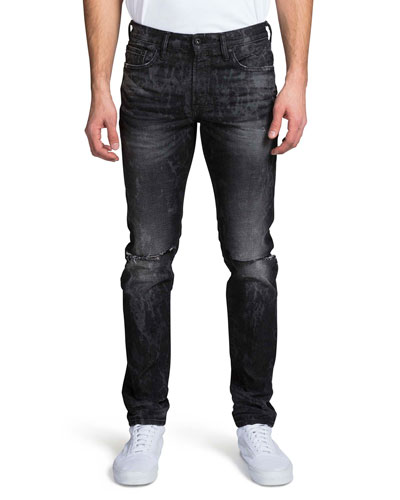 Men's Windsor Fit Stretch Denim Jeans w/ Double-Rip Details