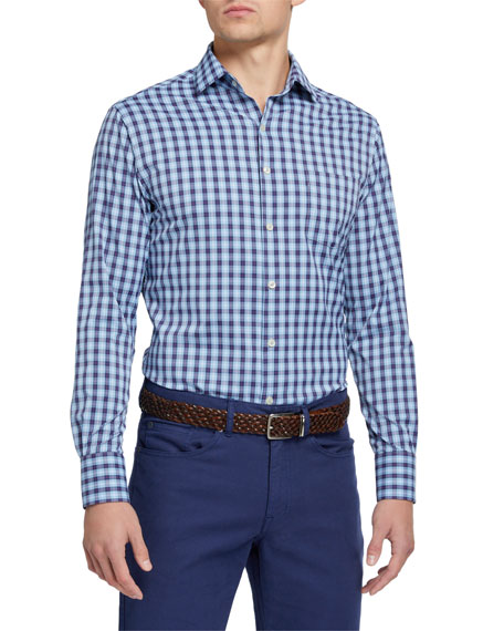 Peter Millar Men's Large-Check Performance Sport Shirt