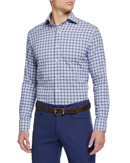 Peter Millar Men's Craft Small-Check Sport Shirt