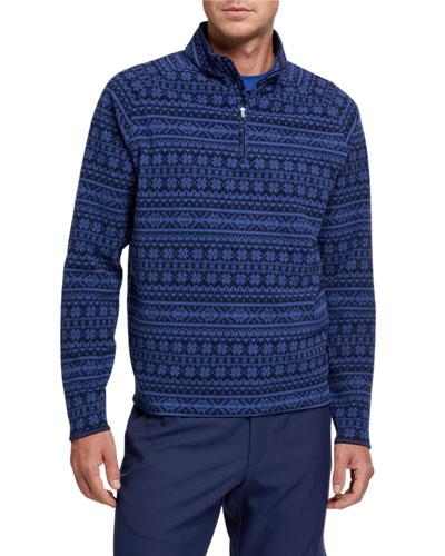 Men's Printed Fleece Quarter-Zip Sweater