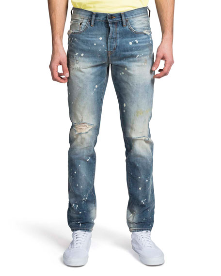 PRPS Men's Le Sabre Ripped & Bleached Straight-Leg Jeans