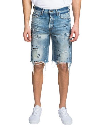 Men's Destroyed Paint-Spot Shorts
