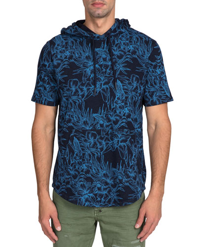 Men's Short-Sleeve Floral Fleece Hoodie