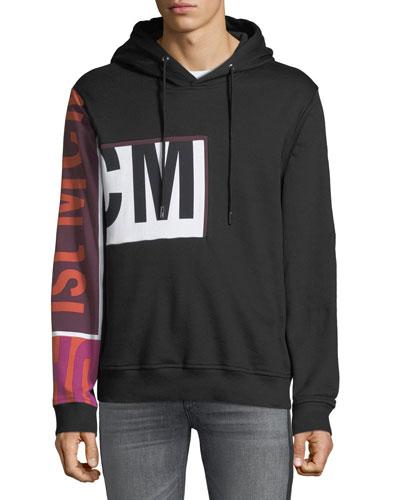Men's Contrast-Sleeve Pullover Hoodie