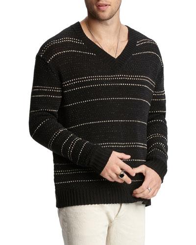 Men's Jacquard-Stripe Easy-Fit V-Neck Sweater