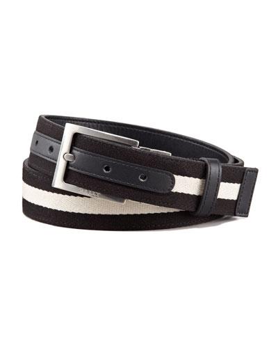 Reversible Web-Leather Belt, Black