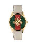 Gucci Men's 38mm Signature Bee Watch w/ Leather