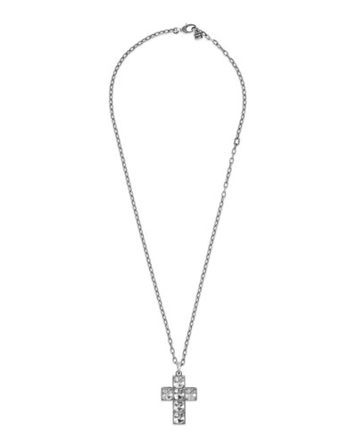 Men's Sterling Silver Cross Necklace w/ Synthetic Stones