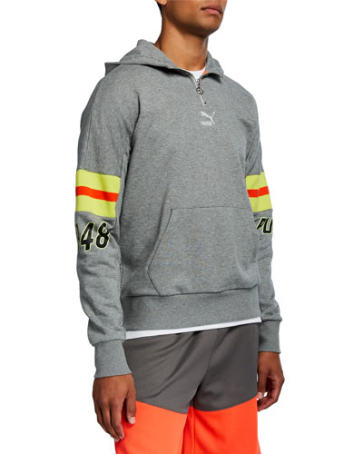 Men's LuxTG Striped-Sleeve Pullover Hoodie