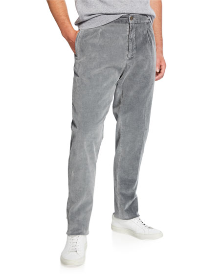 Marco Pescarolo Men's Pleated Corduroy Trousers with Elastic Waist, Gray