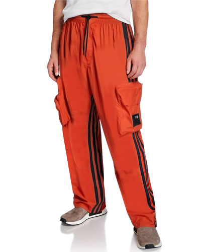 Men's Shell Side-Stripe Track Pants w/ Cargo Pockets