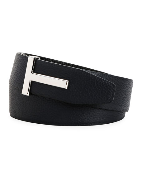TOM FORD Men's Signature T Reversible Leather Belt
