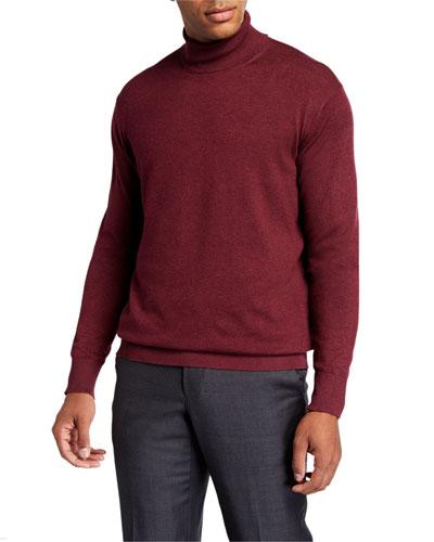 Men's Melange-Knit Turtleneck Sweater