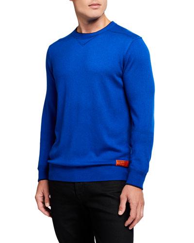 Men's Contrast-Details Crewneck Sweater