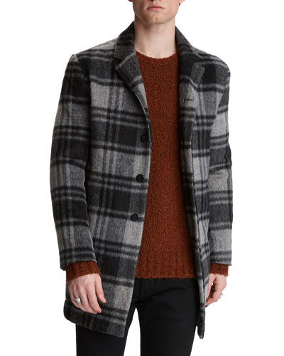 Men's Carsen Plaid Wool-Blend Car Coat