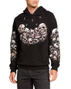 Domrebel Men's HEADS Crystal Graphic Hoodie Sweatshirt