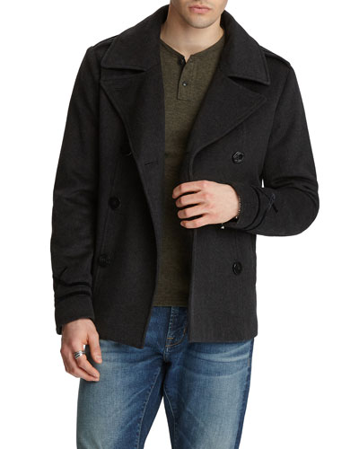 Men's Amos Velvet-Trim Wool Pea Coat