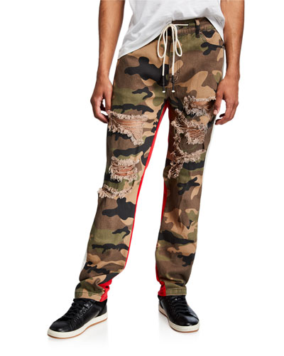 Men's Mixed-Media Drawstring Pants