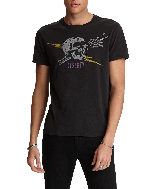John Varvatos T-shirts MEN'S LIBERTY SKULL CREWNECK T-SHIRT