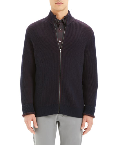 Men's Rennes Rib-Knit Zip-Front Sweater
